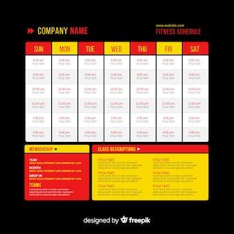 Modèle d'horaire de remise en forme