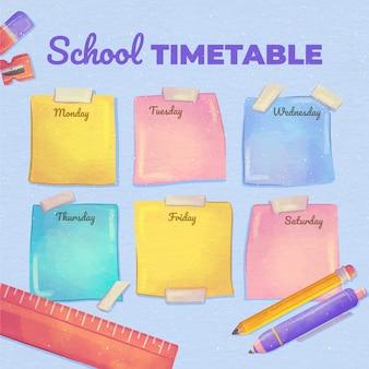 Modèle d'horaire de retour à l'école à l'aquarelle