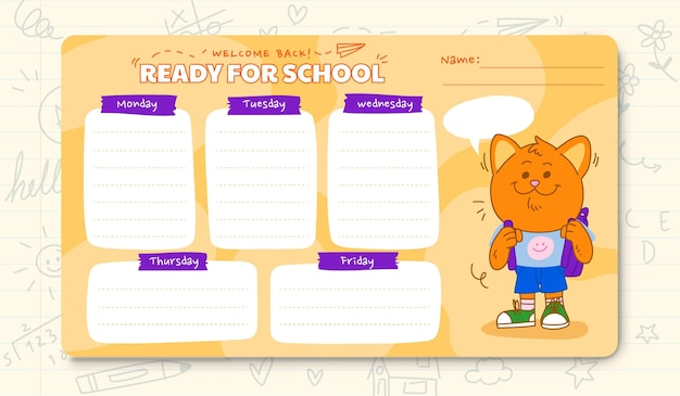 Modèle d'horaire de retour à l'école de dessin animé