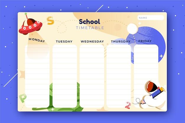 Modèle d'horaire de retour à l'école dessiné à la main