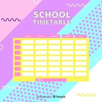 Modèle d'horaire scolaire design plat