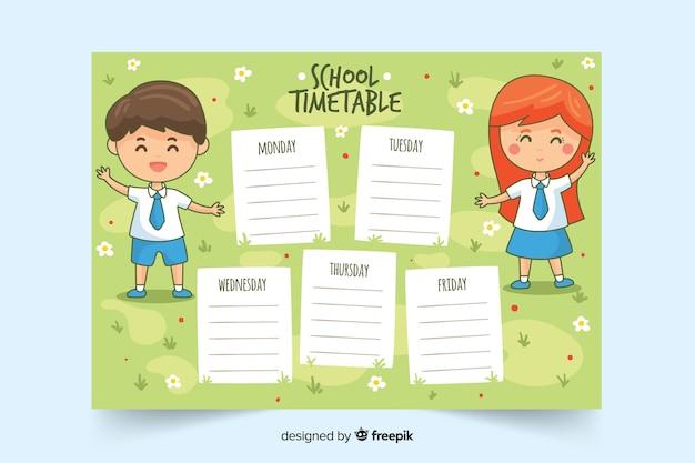 Modèle d'horaire scolaire dessiné à la main