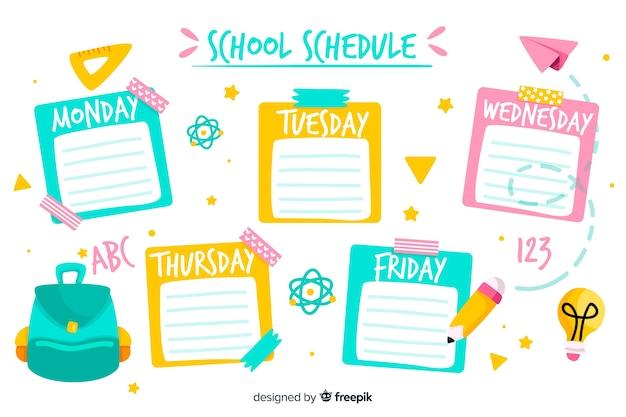 Modèle d'horaire scolaire style plat