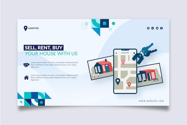 Modèle horizontal de bannière immobilière