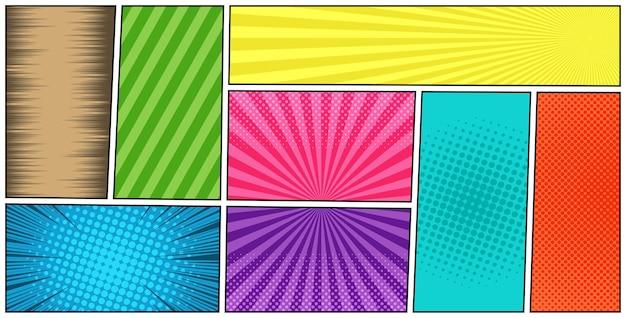 Modèle horizontal coloré de page de bande dessinée avec différents effets d'humour dans le style manga.