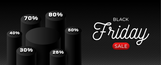 Modèle horizontal de vente vendredi noir