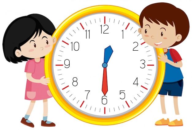 Modèle d'horloge enfants mignons