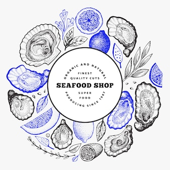 Modèle d'huîtres et d'épices. illustration dessinée à la main