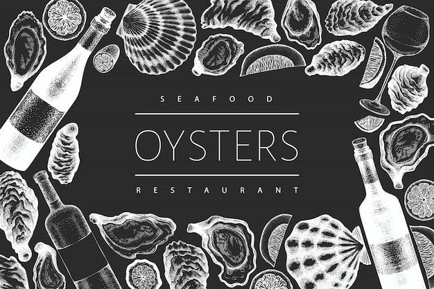 Modèle d'huîtres et de vin. illustration dessinée à la main à bord de la craie. fruit de mer .