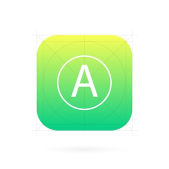 Modèle d'icône d'application avec des lignes directrices, des grilles.