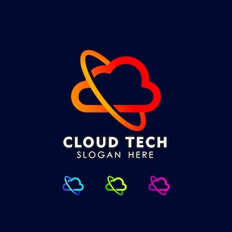 Modèle d'icône de conception de logo cloud tech