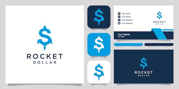 Modèle d'icône de conception de logo fusée dollar boost