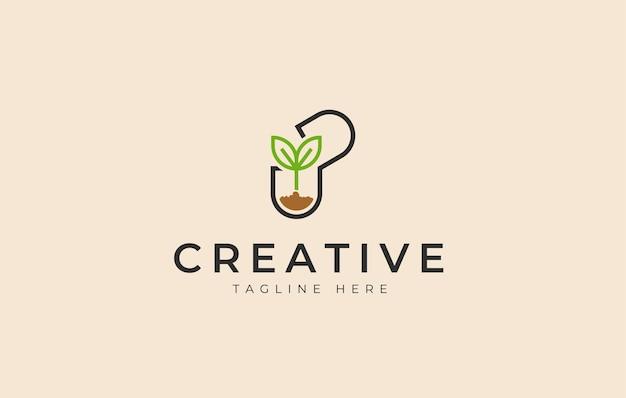 Modèle d'icône de conception de logo de médecine naturelle capsule de graines végétales