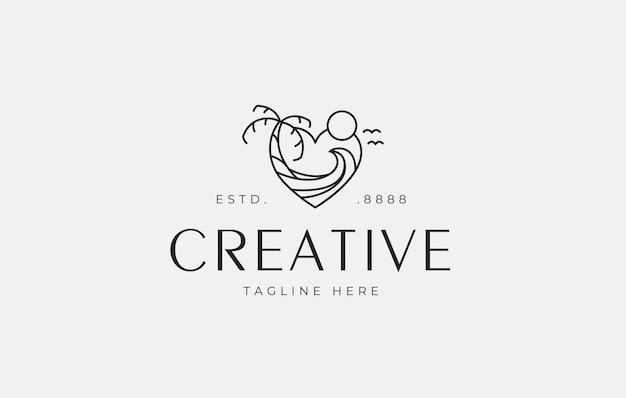 Modèle d'icône de conception de logo monoline d'amour de plage
