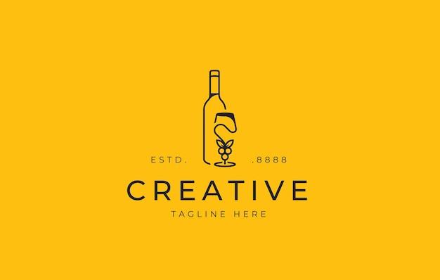 Modèle d'icône de conception de logo de verre de bouteille de vin