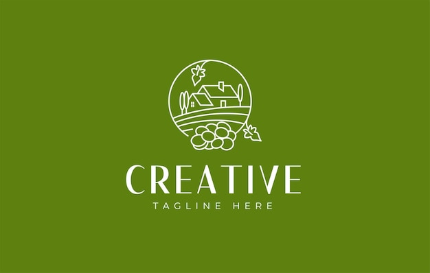 Modèle d'icône de conception de logo de vignobles et de caves à vin de domaine viticole