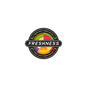 Modèle d'icône d'insigne rond logo de magasin de légumes de fruits de nature fraîche