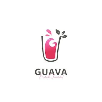 Modèle d'icône de logo de boisson de jus de fruits frais de goyave