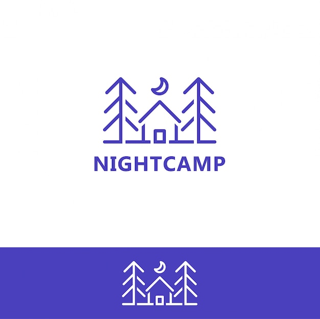 Modèle d'icône de logo de camp de nuit