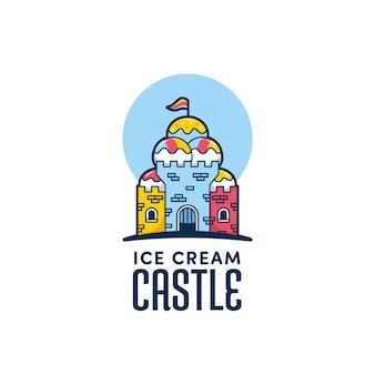 Modèle d'icône de logo de château de crème glacée amusant