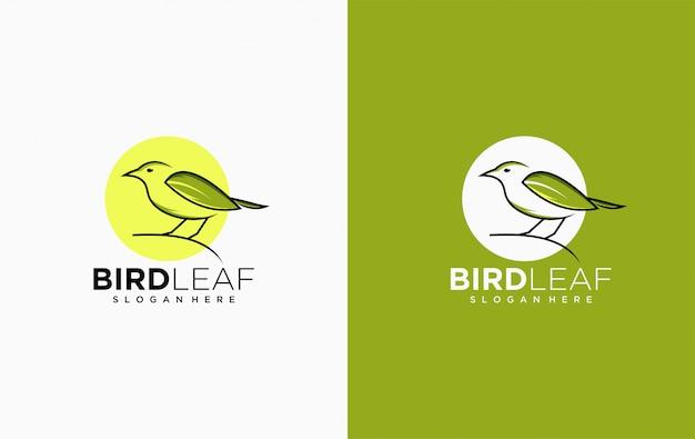 Modèle d'icône logo feuille oiseau