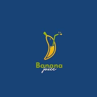 Modèle d'icône de logo de jus de smoothie aux fruits à la banane