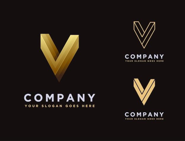 Modèle d'icône logo lettre v élégance or