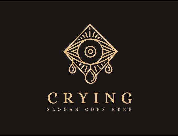 Modèle d'icône de logo lineart mystique pleurer oeil