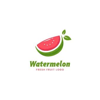Modèle d'icône de logo de pastèque tranche fraîche