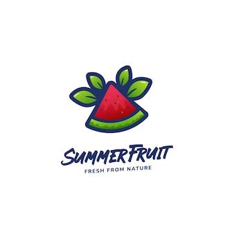 Modèle d'icône de logo de pastèque de tranche de fruits d'été frais