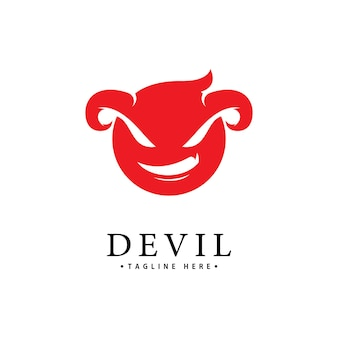 Modèle d'icône de vecteur de logo de diable rouge