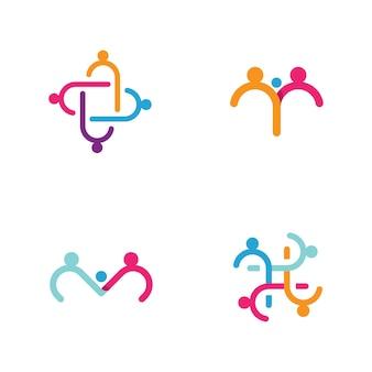 Modèle d'icône de vecteur de logo de soins communautaires et d'adoption