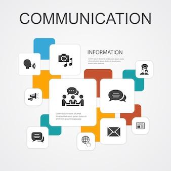 Modèle d'icônes de 10 lignes d'infographie de communication. internet, message, discussion, annonces icônes simples