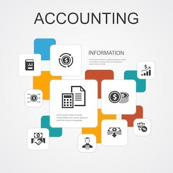 Modèle d'icônes de 10 lignes d'infographie comptable. actif, rapport annuel, revenu net, icônes simples de comptable