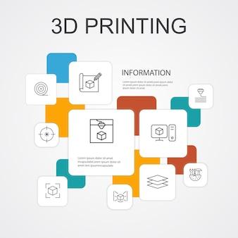 Modèle d'icônes de 10 lignes d'infographie d'impression 3d. imprimante 3d, filament, prototypage, icônes simples de préparation de modèle