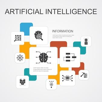 Modèle d'icônes de 10 lignes d'infographie sur l'intelligence artificielle. apprentissage automatique, algorithme, apprentissage en profondeur, icônes simples de réseau neuronal