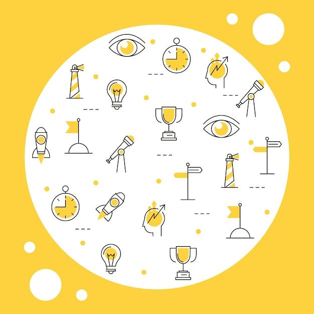 Modèle d'icônes d'affaires de vision