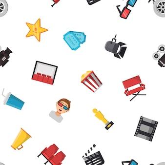 Modèle d'icônes de cinéma plat ou fond