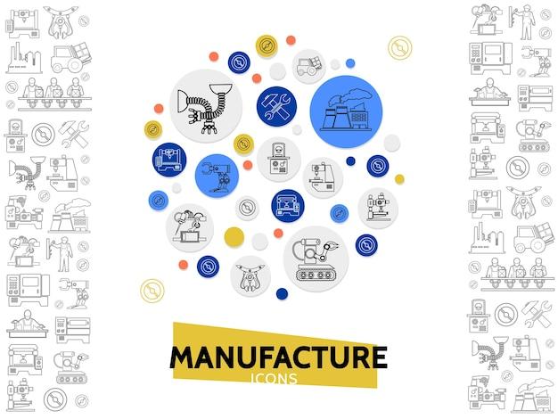 Modèle d'icônes de ligne de fabrication avec équipement industriel de l'ingénieur de chariot élévateur de marteau de clé d'usine