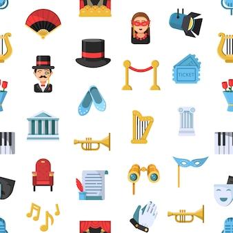 Modèle d'icônes de théâtre plat