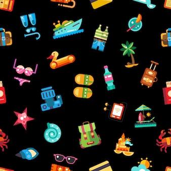 Modèle d'icônes de vacances de voyage balnéaire moderne de vecteur et éléments d'infographie