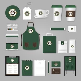 Modèle d'identité d'entreprise. concept de logo pour café, café, restaurant.