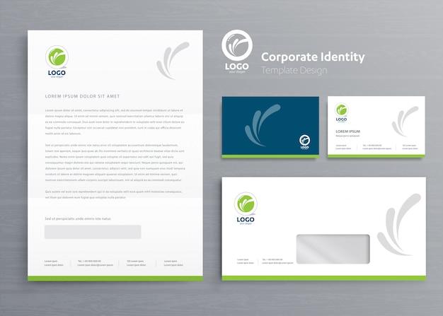 Modèle d'identité d'entreprise entreprise papeterie