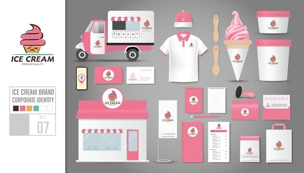 Modèle d'identité d'entreprise pour magasin de crème glacée