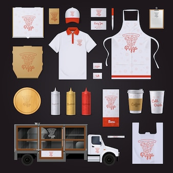 Modèle d'identité d'entreprise de restaurant fast-food avec des ingrédients de pizza rouge aperçu des échantillons sur fond noir