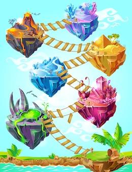 Modèle d'îles de jeu coloré isométrique