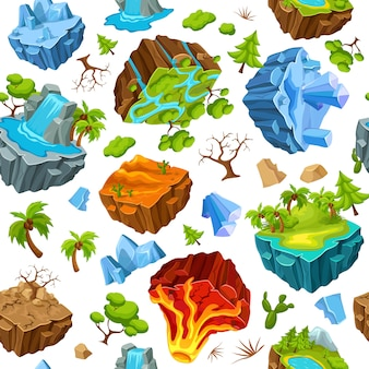 Modèle d'îles de jeu et d'éléments de la nature