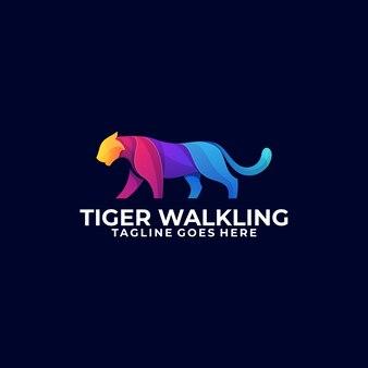 Modèle d'illustration abstrait tigre marche concept coloré.