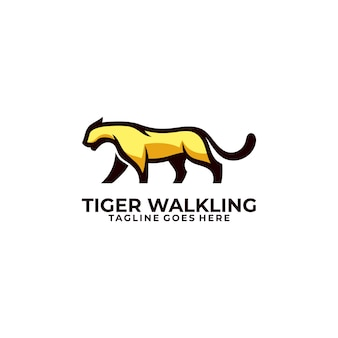 Modèle d'illustration abstraite tiger walking concept.