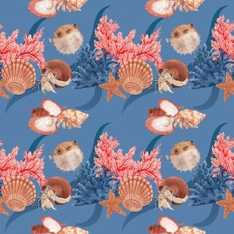 Modèle avec illustration aquarelle de conception de concept de vie de mer